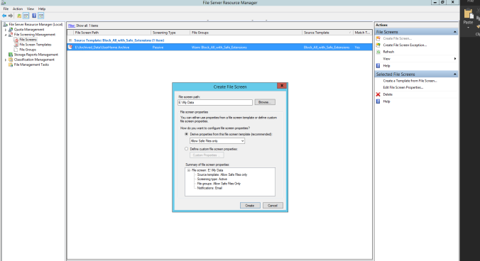 FSRM Create File Screen Window